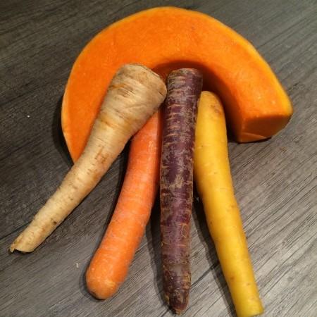 Kürbis und Karotten