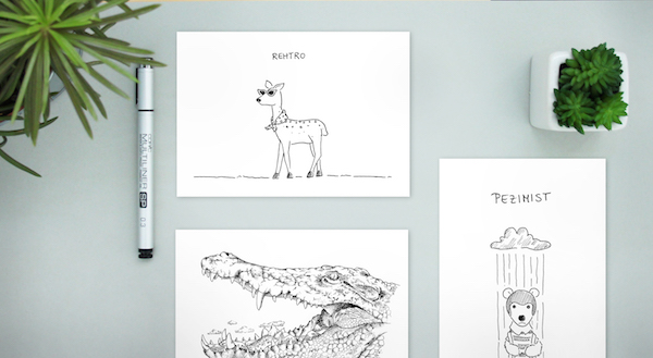 LIA Illustrationen Mix mit Pezimist, Rehtro & Kroko
