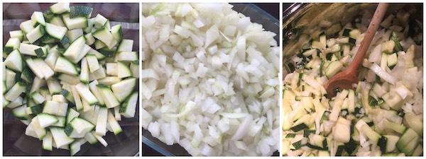 Geschnittene Zucchini & Zwiebel für Chutney