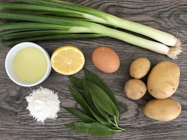 Zutaten für Bärlauch-Erdäpfelpuffer