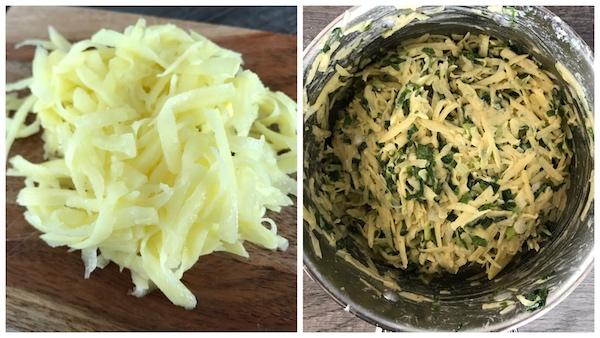 Vorbereitung für Bärlauch-Erdäpfelpuffer: Kartoffeln raspeln und vermengen