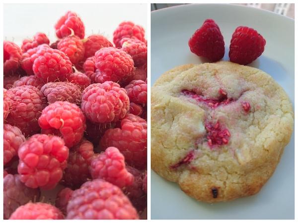 Cookies mit frischen Himbeeren