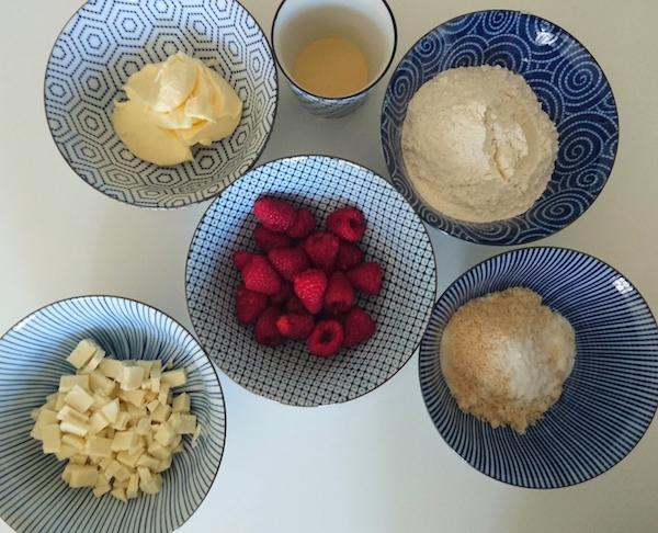 Zutaten für Himbeer-Cookies