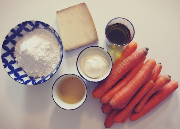 Zutaten für salzigen Karottenkuchen