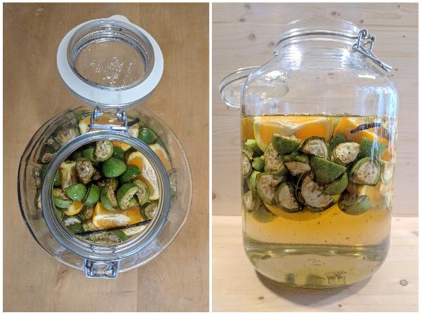 Einmachglas mit Weingeist auffüllen
