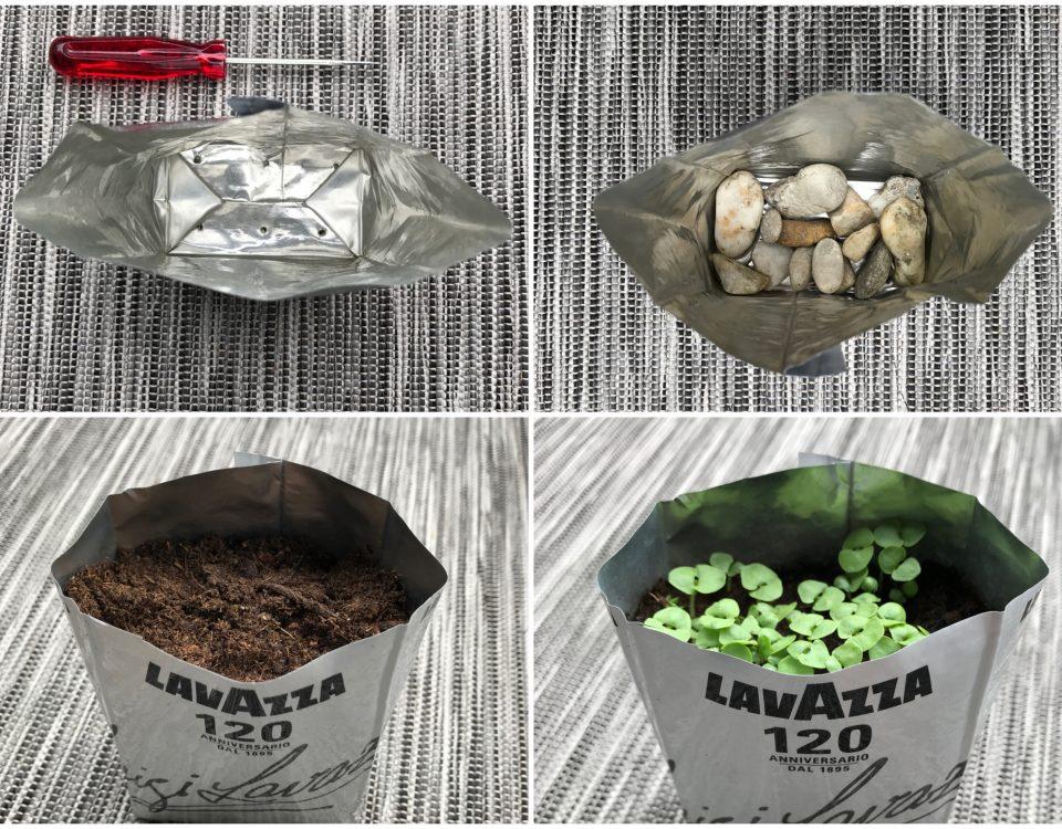 Collage von selbstgemachten Kräutersackerl aus alten Kaffeeverpackungen
