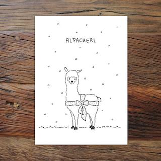 LIA - Alpackerl Weihnachtskarte
