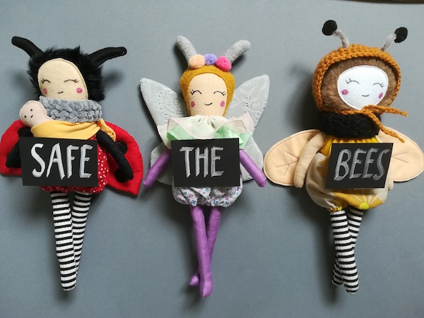 Alpenglück - Safe The Bees Marienkäfer, Schmetterling als Stoffpuppe