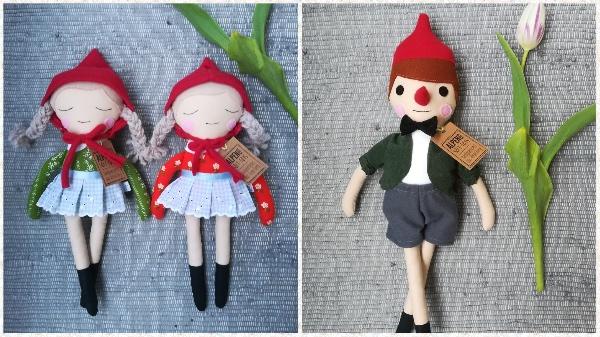 Rotkäppchen Puppe und Pinocchio Stoffpuppe