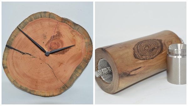 Huizbirn - Baumstammuhr aus Zirbe und Handmühle