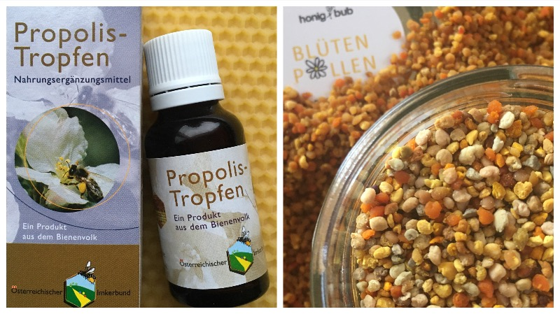 Propolis-Tropfen und Blütenpollen aus Österreich
